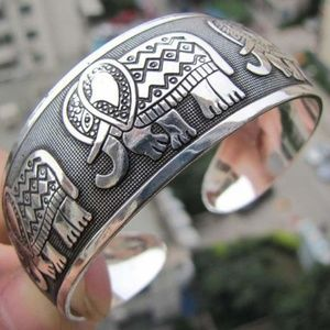 Bohemian Hammered Elephant Silver Cuff Bracelet